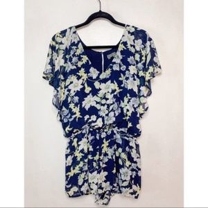 Lucca Couture Navy Floral Butterfly Sleeve Romper
